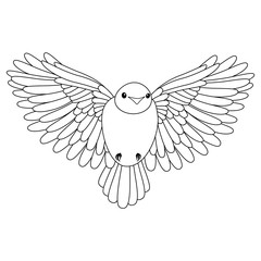 Line cute bird, coloring style isolated on white background, vector sign.