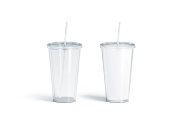 Fototapeta Blank white and transparent acrylic tumbler with straw mockup set, obraz