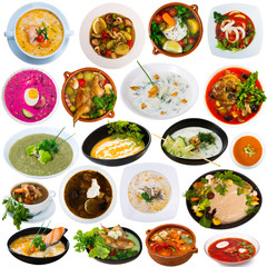 Collection of various soups
