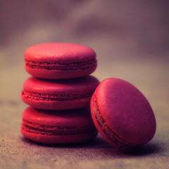 Strawberry macarons close-up photo