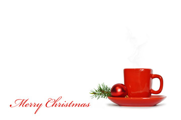 Christmas card with Christmas coffee isolated on white