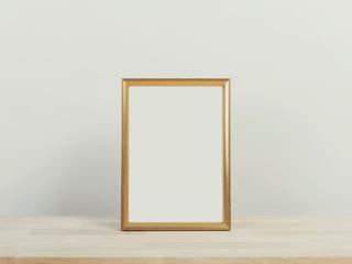 Christmas holiday greeting frame design mockup on wood table.