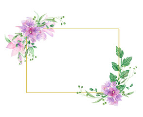 Floral frame with pink roses and decorative leaves. Watercolor Invitation design. Background to save the date. Greeting card with pink flowers. Gold polygonal frame