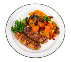 Grilled sausages with baked vegetables