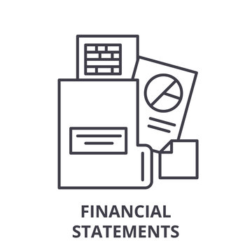 Financial statements line icon concept. Financial statements vector linear illustration, sign, symbol