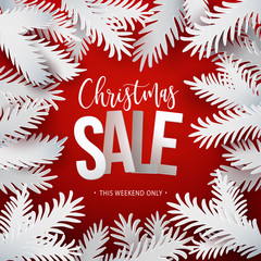 Christmas Sale with paper branches