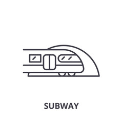 Subway line icon concept. Subway vector linear illustration, sign, symbol