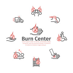 Skinl Burns round banner. line icons. House fire. Treatment. Vector illustrations