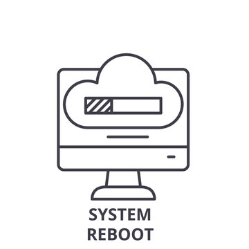 System reboot line icon concept. System reboot vector linear illustration, sign, symbol