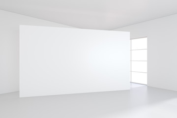 Blank exposition modern gallery,open space.Blank white empty canvas. 3d Rendering.