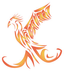 soaring fiery Phoenix with raised wings up
