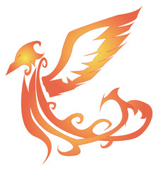 soaring fiery Phoenix with raised wings up