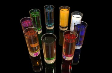 Nine glass shots with colorful liquids arranged in a circle. Black background with ground reflections. 3D rendering