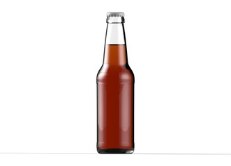 Transparent glass isolated full of beer bottle with white cap on white background. 3D rendering