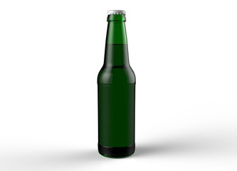 Green glass isolated full beer bottle with white cap on white background. 3D rendering