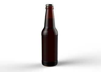 Brown glass isolated full beer bottle with white cap on white background. 3D rendering