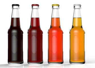 Four transparent isolated beer bottles with different kinds of beer and different caps on white background. 3D rendering