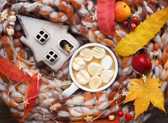 Autumn composition. Cup of cocoa with marshmallows, wooden hut, colorful leaves and scarf on table.