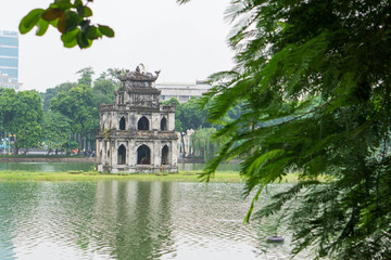 Turtle tower and Sword lake in old quarter of Hanoi, Vietnam Wall mural