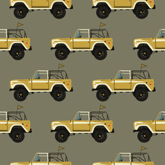 Vintage hand drawn surfing car seamless. Summer pattern. Retro surf transportation wallpaper. Textured classic automobile with flag. Stock illustration