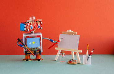 Kindly robot artist begins to create a drawing with a pencil. White paper template, wooden easel and artist's tools palette, pencils case. Red wall background