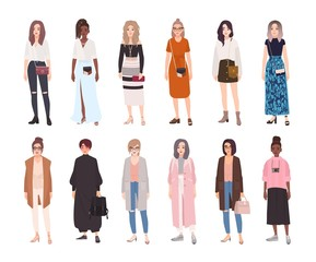 Collection of young women dressed in trendy clothes isolated on white background. Set of girls wearing stylish apparel. Bundle of street style outfits. Flat cartoon colorful vector illustration.