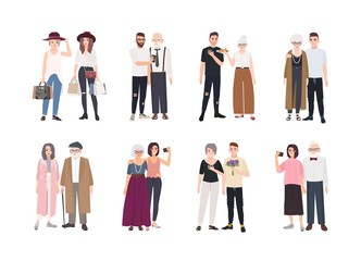 Collection of grandparents and grandchildren standing together. Set of family portraits. Bundle of cute cartoon characters isolated on white background. Colorful vector illustration in flat style.