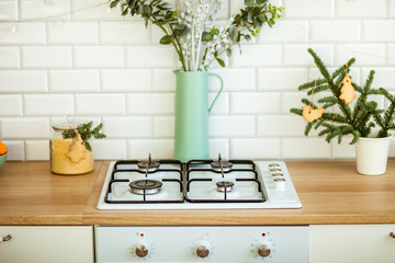 Bright kitchen with Christmas decorations
