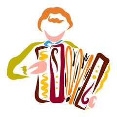 Young man playing the accordion, colorful pattern