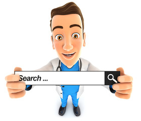 3d doctor holding a search bar