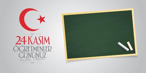November 24th Turkish Teachers Day, Billboard Design. Turkish: November 24, Happy Teachers' Day. (TR: 24 Kasim Ogretmenler Gununuz Kutlu Olsun)