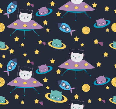 Fun cat astronaut in space seamless pattern. Vector cartoon charters. Editable vector illustration.