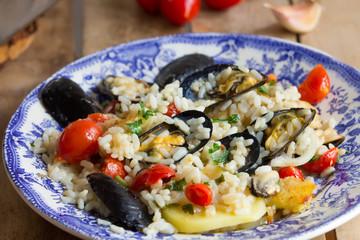 Rice, potatoes and mussels, traditional apulian dish, italian cuisine, Bari, close up