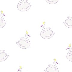 Seamless pattern with white swans. White swans on pink background. Vector illustration.