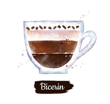 Watercolor illustration of Bicerin coffee