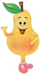 Cartoon funny Illustrations pear. Funny fruit drawing in cartoon style. Smiley pear  character