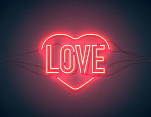 Bright heart. Neon sign. Retro neon heart sign on purple background with word Love. Design element for Happy Valentine's Day. Ready for your design, greeting card, banner. Vector illustration.