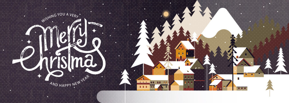 New year and Christmas snowy winter landscape with coniferous forest, pines, mountains, cottages and hand drawn Merry Christmas typography . Celebration quotation for poster, card, postcard, event