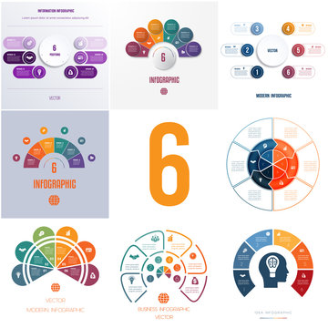Universal templates elements Infographics conceptual cyclic processes for 6 positions possible to use for workflow, banner, diagram, web designs