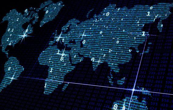 Blue digital map of binary code, big data concept