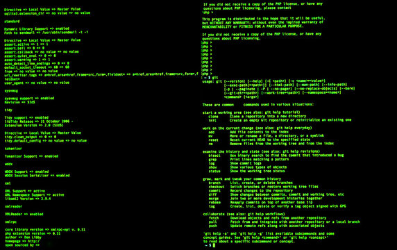 Command line interface, front view, terminal command, cli. UNIX bash shell