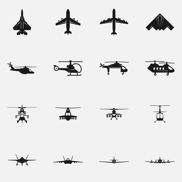 Set of military aircraft flat vector icons.