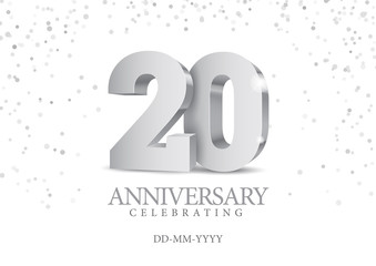 Anniversary 20. silver 3d numbers.