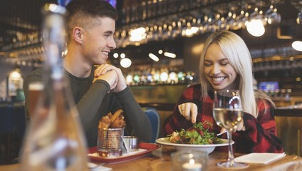 Couple having food in restaurant