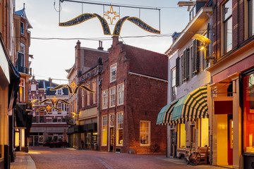 Shopping street with christmas lights in the city center of Zutphen