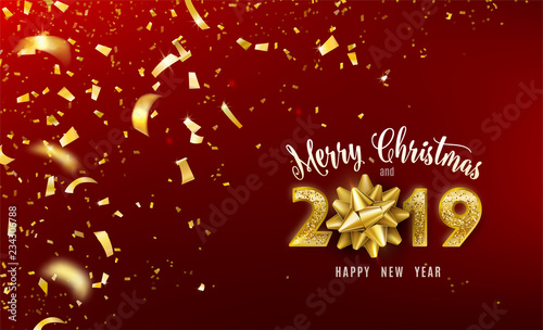 merry christmas and 2019 happy new year vector background with golden gift bow confetti