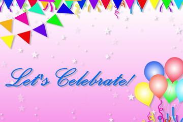 let's celebrate celebration invitation card design in pink background