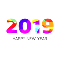 Happy new year 2019 creative text design with colorful layout. Vector template for your design.