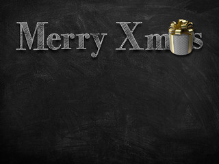 3d illustration rendering of chalk Merry Christmas wishes on blackboard with golden decorated round gift box