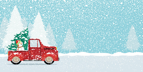 Christmas card design of xmas tree and cute snowman on vintage car truck with copy space vector illustration